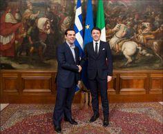 """Renzi y la escenografía con mensaje. En política, todo comunica. El 3 de febrero, el primer ministro italiano Matteo Renzi, recibió en Roma al primer ministro griego Tsipras. El encuentro, del que se ha hablado más por el regalo de una corbata, tuvo lugar bajo el cuadro """"Frenando a Atila en las puertas de Roma"""". Ese uso de la escenografía para comunicar un mensaje no es nada casual. - See more at…"""