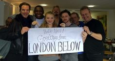 """The cast for the BBC radio production of NEVERWHERE saying """"Hallo"""" to writer Neil Gaiman (who wrote Neverwhere). (L–R) Benedict Cumberbatch, David Harewood (Homeland), Natalie Dormer (The Tudors/Game of Thrones), Dirk Maggs (production director), James McAvoy, David Schofield (the Pirates of the Caribbean movies), and Anthony Head."""