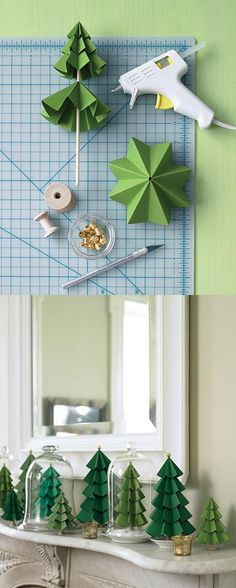 Paper Christmas Trees. I'm so making these in blues. (Above kitchen cabinets)