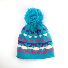 Knit Hat Hearts 1980s giant pom pom 80s Ski Hat Vintage eb761ba80a81