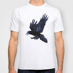 The Rook (Blue) T-shirt by Robert Lee - $18.00 #art #rook #raven #crow #iphone #ipod #ipad #galaxy #s4 #s5 #s6 #case #cover #skin #mug #bag #pillow #stationery #apple #mac #laptop #sweat #shirt #tank #top #clothing #clothes #hoody #kids #children #boys #girls #men #women #ladies #lines #love  #light #home #office #style #fashion #accessory #for #her #him #gift #want #need #love #print #canvas #framed #Robert #S. #Lee