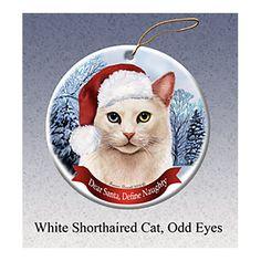 White Shorthair Odd Eye Cat Howliday Cat Christmas Ornament