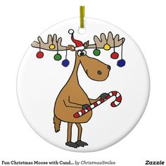 Shop Fun Christmas Moose with Candy Cane and Ornaments created by ChristmasSmiles. Blue Christmas Decor, Christmas Moose, Christmas Rock, Christmas Table Decorations, Christmas Balls, Rustic Christmas, Funny Christmas, Christmas Ideas, Holiday Decor