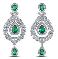 Marie-Antoinette Boucles d'oreilles Emeraude et Diamant