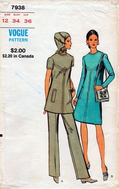 Misses' Dress or Top and Pants. The pattern is complete, uncut, factory folded. Vogue Sewing Patterns, One Piece For Women, One Piece Dress, Size 12, Studio, Pants, Vintage, Ebay, Tops