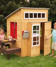 This Modern Outdoor Playhouse by KidKraft is perfect! #zulilyfinds #buildachildrensplayhouse