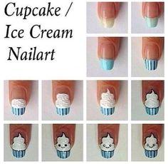 How to do ice cream nail art designs Cute Nail Art, Nail Art Diy, Easy Nail Art, Diy Nails, Cute Nails, Nail Art Cupcake, Diy Cupcake, Nail Art Designs, Nails Decoradas