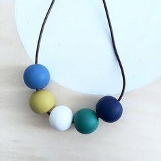 modern blue green mustard white polymer clay by accentvault