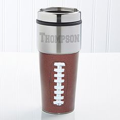 Find the best personalized sport and leisure gifts including the Touch Down! Personalized Travel Mug at PersonalizationMall.com