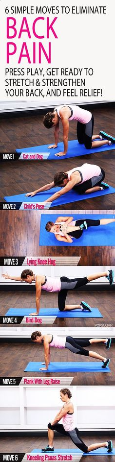 Dont let back pain keep you down! Here are six exercises that will keep your spine healthy and your core strong. This five-minute workout will teach you the essentials for maintaining a better back, from flexible hips to strong abs. Press play, get ready to stretch and strengthen your back, and feel RELIEF.