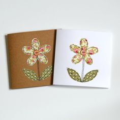 Embroidered flower greetings card blank greetings by StitchGalore