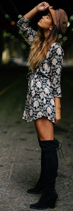 Flattering Floral Dress Fall Streetstyle Inspo by Little Black Boots