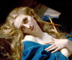Mary Magdeline in the Cave by Hugues Merle (1823–1881) #HuguesMerle