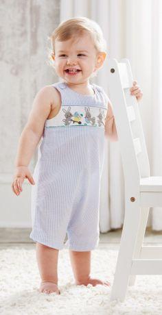 This blue boy smocked seersucker shortall is soooo cute!  Size 0-6 month