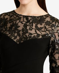 Lauren Ralph Lauren Lace-Yoke Jersey Gown - Dresses - Women - Macy's Saree Blouse Neck Designs, Dress Neck Designs, Collar Designs, Kurta Designs, Stylish Blouse Design, Stylish Dress Designs, Stylish Sarees, Fashion Outfits, Designer Dresses