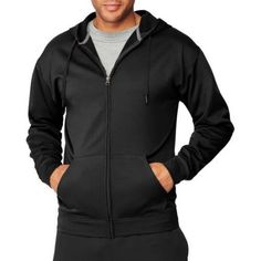 Hanes Sport Men's Performance Fleece Full-Zip Hoodie, Size: Medium, Black