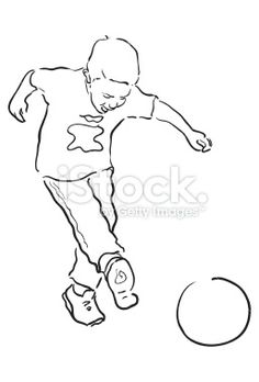 Young Boy playing soccer - Line drawing Royalty Free Stock Vector Art Illustration