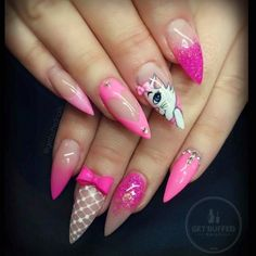 """Pink Negative Space Stiletto Nails Inspired by """"Marie"""" From Disney's """"Aristocats"""""""