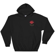 Rose Hoodie Single Flower Sweatshirt Embroidered Sweatshirt Embroidery... (€25) ❤ liked on Polyvore featuring tops, hoodies, sweatshirts, sweaters, jackets, black, women's clothing, checkered shirt, colorful shirts and sweatshirt hoodies