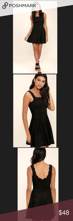 "LuLus - Atta Twirl Black Suede Dress. LuLus - Atta Twirl Black Suede Dress.                                 Size : Small Armpit to Armpit 16"" Approx Length 31"".          Size : Medium Armpit to Armpit 17"" Approx Length 32"" LuLus Dresses"