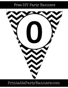 Black and White Pennant Chevron Number 0
