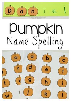This free pumpkin alphabet letters printable is perfect for practicing name spelling puzzles with preschoolers!