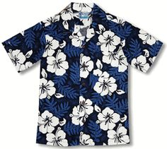 White Hibiscus Fern Infant, Toddler and and men's and boy's Shirts created in Turquoise and Blue.  100% Cotton, Nui Nalu Label, Best Quality Made In Hawaii.  A matching family print. MauiShirts search box stock number: 202C-203C-018