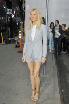 Spring fashion alert! Gwyneth Paltrow in a shorts suit in NYC on 4/10/13.