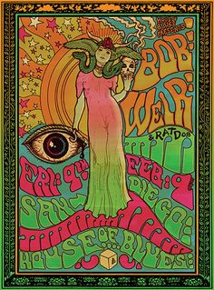 Bob Weir of The Grateful Dead Psychedelic rock poster from darrengrealish on Etsy. Saved to Art! Rock Posters, Band Posters, Film Posters, Vintage Concert Posters, Posters Vintage, Retro Posters, Vintage Movies, Psychedelic Rock, Psychedelic Posters