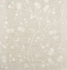 Neutral Linen Curtain Fabric With Embroidered Ivory Floral Design