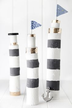 A DIY with sea breezes: DIY lighthouses as a maritime decoration. Pinecone Crafts Kids, Pine Cone Crafts, Pinecone Decor, Diy And Crafts, Crafts For Kids, Autumn Clematis, Valentines Day For Him, Painted Sticks, Chickens Backyard