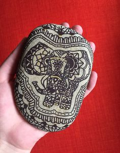 Hand painted elephant on a rock handpainted stones by AmyRoseBudd