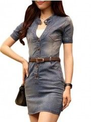 V Neck With Buttons And  Pockets Plain Bodycon-dress