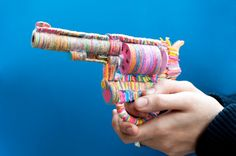 Artist crafts colourful weapon sculptures out of tens of thousands of Post-it notes | Creative Boom
