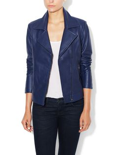 Rockefeller Leather Asymmetrical Jacket with Perforated Detail