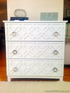 """Overlays Gigi on Ikea Tarva in 1/4"""" thick panels http://www.myoverlays.com/overlay-kit-for-ikea-tarva-3-drawer"""