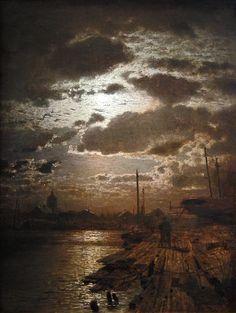 Louis Douzette (1834–1924) - Mondschein über Barther Werft