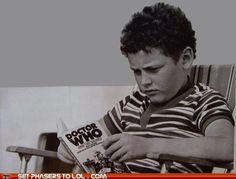 A mini Moffat . I was like this as a kid reading my Doctor Who books <3