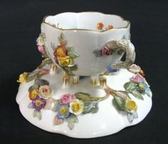 Meissen Porcelain Miniature Applied Flower Cup & Saucer