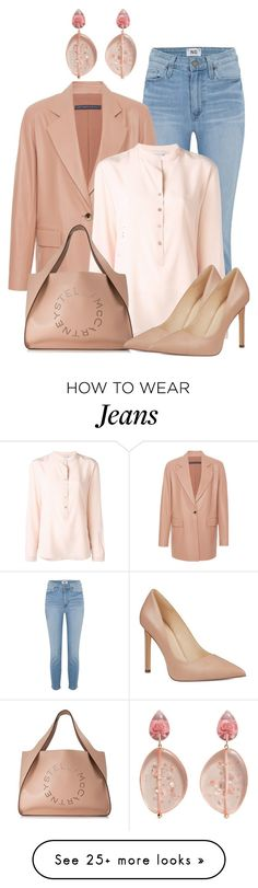 """Leather Jacket with Pumps"" by lechara on Polyvore featuring Paige Denim, STELLA McCARTNEY, Nine West and MANGO"