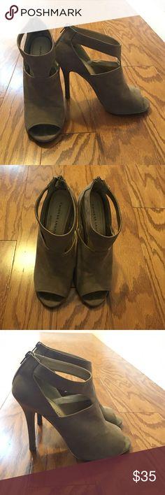 Chinese Laundry tan open toe heels Super cute heels for the spring! Chinese Laundry Shoes Heels