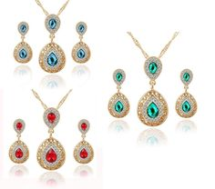 Ladies Womens Gold Plated Full Rhinestone Filled Waterdrop Crystal Necklace Set.