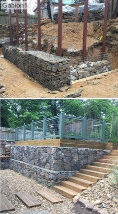 Gabion retaining wall – Famous Last Words Gabion Wall Design, Fence Design, Garden Design, Retaining Wall Fence, Backyard Retaining Walls, Retaining Wall Drainage, Landscaping Along Fence, Hillside Landscaping, Landscaping Ideas