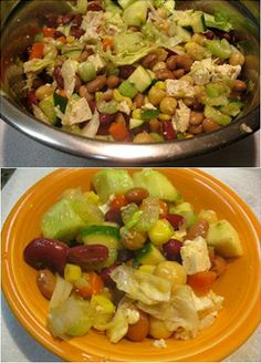 VEGETABLE BEAN SALAD is a great addition to any meal or it can be eaten alone as a nutritional snack!  This dish is a great way to introduce food after a fast.  http://www.shreemaa.org/shree-maas-hodge-podge-vegetable-bean-salad/
