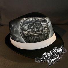Aztec Calendar, Tattoo Style, Airbrush Art, Chicano Art, Pachuco Hat, Fedora- Unique!