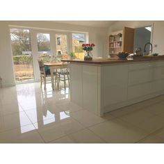 Super White Polished Porcelain from Tile Mountain only per tile or per sqm. Order a free cut sample, dispatched today - receive your tiles tomorrow Clean Grout Lines, White Polish, Grout Cleaner, Super White, Underfloor Heating, White Tiles, Shades Of White, Kitchen Flooring, Open Plan