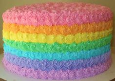 Rainbow Birthday Cake. Made this for Kellyn's birthday. Turned out cute and was easy. Ajm