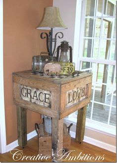 Table Made from an Old Crate.