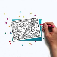 Adult Coloring Thank You Card! Your purchase supports a small, female-owned business!