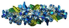 Crystal Flower Barrette with French Clip Clasp YY86800-1blue